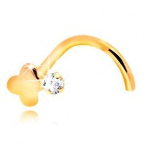 Šperky eshop - Zahnutý piercing do nosa, žlté 14K zlato, číry zirkón a lesklý krížik GG206.09