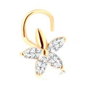 Šperky eshop - Zahnutý piercing do nosa zo zlata 585 - ligotavý kvietok z čírych zirkónov GG96.22