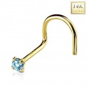 Šperky eshop - Zahnutý piercing do nosa zo žltého 14K zlata, okrúhly svetlomodrý zirkón, 2 mm GG222.16