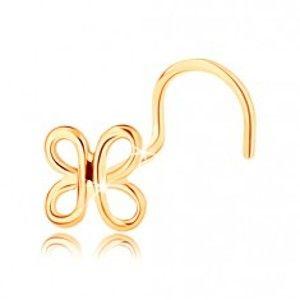 Šperky eshop - Zahnutý zlatý piercing do nosa 585 - lesklá kontúra motýlika GG143.02