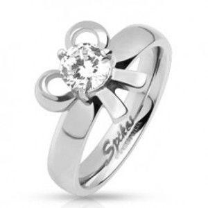 Šperky eshop - Zásnubný oceľový prsteň s mašličkou a okrúhlym kamienkom  SP43.18 - Veľkosť: 59 mm