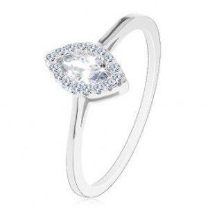 Šperky eshop - Zásnubný prsteň, striebro 925, číre zirkónové zrnko s trblietavou obrubou J02.15 - Veľkosť: 51 mm