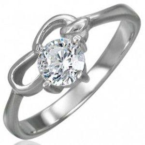 Šperky eshop - Zásnubný prsteň z chirurgickej ocele so zirkónom čírej farby a dvoma slučkami D7.14 - Veľkosť: 53 mm