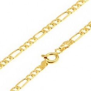 Šperky eshop - Zlatá retiazka 375 - jedno podlhovasté očko a tri malé oválne, 500 mm GG69.28
