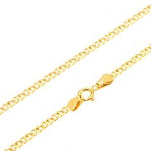 Šperky eshop - Zlatá retiazka 585 - ligotavé zdvojené ploché očko, 450 mm GG26.23