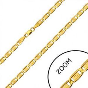 Šperky eshop - Zlatá retiazka 585 - podlhovasté očká, články s gréckym kľúčom, 550 mm GG29.32
