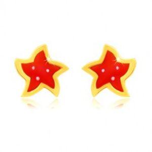 Šperky eshop - Zlaté 14K náušnice - kvietok s piatimi lupienkami, červenou glazúrou a bielymi bodkami GG51.26