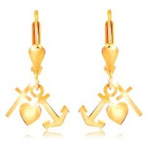 Šperky eshop - Zlaté 14K náušnice - lesklá obrátená slza, kotva, srdce a kríž GG15.23