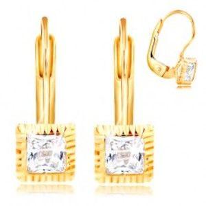 Šperky eshop - Zlaté 14K náušnice - štvorcová objímka so zárezmi, brúsený číry zirkón, 3 mm GG209.44