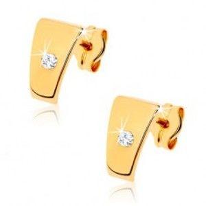 Šperky eshop - Zlaté briliantové náušnice 585 - lesklé lichobežníky s čírym diamantom v strede BT501.28