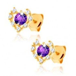 Šperky eshop - Zlaté náušnice 375 - číry zirkónový obrys srdca, fialový ametyst GG62.15