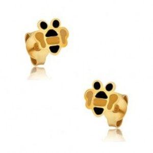 Šperky eshop - Zlaté náušnice 375 - drobné ploché včeličky, farebná glazúra GG03.38