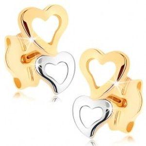 Šperky eshop - Zlaté náušnice 375 - dve srdcové kontúry v dvojfarebnom prevedení GG75.03