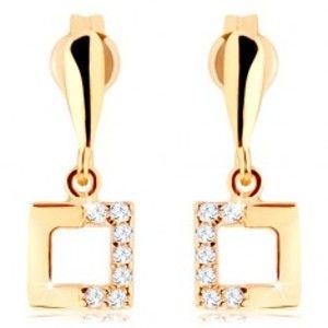 Šperky eshop - Zlaté náušnice 375 - kontúra štvorca so zirkónovou polovicou, úzka slza GG44.02