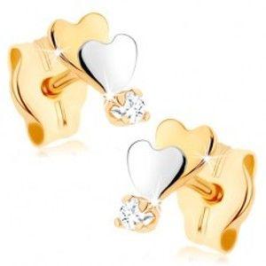 Šperky eshop - Zlaté náušnice 375 - malé ploché srdiečka, zrkadlový lesk, číry zirkón GG76.05