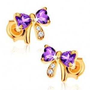 Šperky eshop - Zlaté náušnice 375 - mašlička z fialového ametystu, číre zirkóniky GG61.29