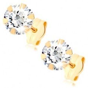 Šperky eshop - Zlaté náušnice 375 - okrúhly zirkón čírej farby, puzetky, 5 mm GG79.03
