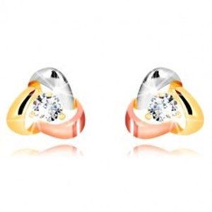 Šperky eshop - Zlaté náušnice 375 - trojfarebné stuhy usporiadané do trojuholníka, ligotavý zirkón GG54.43