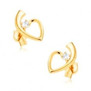 Šperky eshop - Zlaté náušnice 375, lesklá kontúra srdca so stopkou, okrúhly zirkón GG39.05