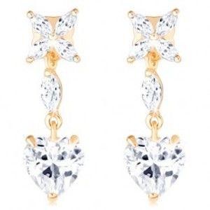 Šperky eshop - Zlaté náušnice 585 - číry kvietok, zrnko a súmerné srdiečko zo zirkónu GG102.18