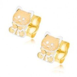Šperky eshop - Zlaté náušnice 585 - dvojfarebné mačiatko s mašličkou GG21.19