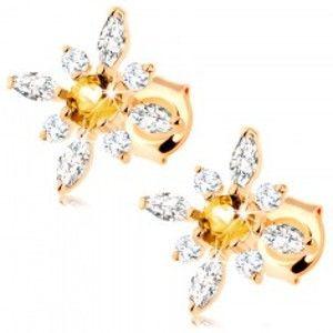 Šperky eshop - Zlaté náušnice 585 - kvet zo žltého citrínu a čírych zirkónov GG90.05