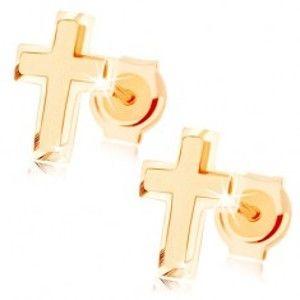 Šperky eshop - Zlaté náušnice 585 - malý latinský krížik, kombinácia lesklého a matného povrchu GG85.28
