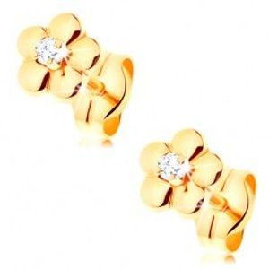 Šperky eshop - Zlaté náušnice 585 - malý lesklý kvietok, vyvýšený číry diamant v strede BT501.44