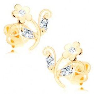 Šperky eshop - Zlaté náušnice 585 - malý lesklý kvietok zdobený čírymi zirkónmi, puzetky GG103.05