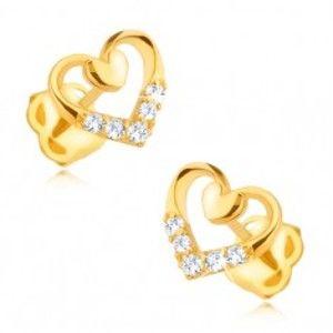 Šperky eshop - Zlaté náušnice 585 - pravidelný obrys srdca s menším plným, zirkóny GG92.04