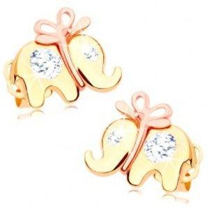 Šperky eshop - Zlaté náušnice 585 - roztomilý sloník s mašličkou a čírymi zirkónmi GG102.05
