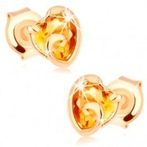 Šperky eshop - Zlaté náušnice 585 - srdiečko zo žltého citrínu v neúplnom obryse GG90.03