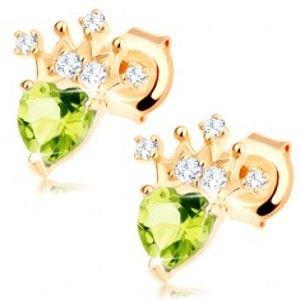 Šperky eshop - Zlaté náušnice 585 - srdiečkový zelený olivín, trblietavá korunka GG90.02