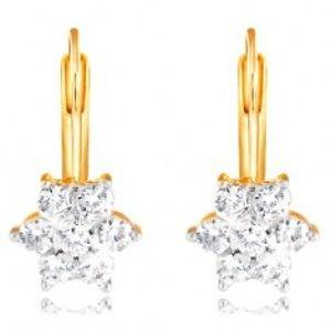 Šperky eshop - Zlaté náušnice 585 - trblietavý kvet z okrúhlych čírych zirkónov GG210.11