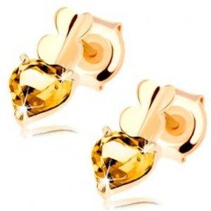 Šperky eshop - Zlaté náušnice 585 - tri spojené srdiečka - hladké a citrínové, puzetky GG89.35