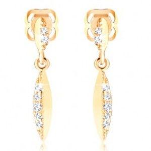 Šperky eshop - Zlaté náušnice 585 - úzke zrnko s trblietavou zirkónovou polovicou GG107.22