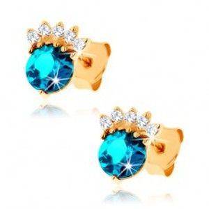 Šperky eshop - Zlaté náušnice 585 - zirkónová korunka, okrúhly topás modrej farby GG89.07