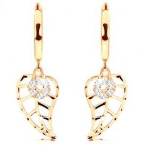 Šperky eshop - Zlaté okrúhle 14K náušnice - vyrezávaný list a kruh vykladaný diamantmi BT504.50