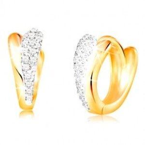 Šperky eshop - Zlaté okrúhle náušnice 585 - lesklé slzičky zo žltého a bieleho zlata, zirkóny GG210.38