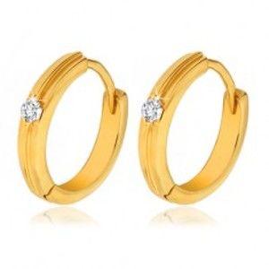 Šperky eshop - Zlaté okrúhle náušnice 585 - tenký vystupujúci pruh, číry kamienok GG13.27