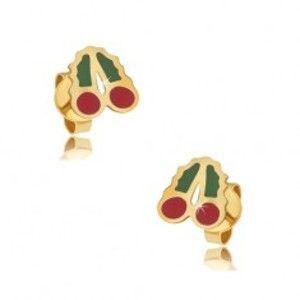 Šperky eshop - Zlaté puzetové náušnice 375 - glazúrované červeno-zelené čerešne GG03.28