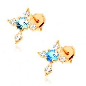 Šperky eshop - Zlaté puzetové náušnice 375 - kríž so zirkónovými ramenami, modrý topás GG62.23