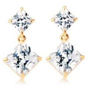Šperky eshop - Zlaté puzetové náušnice 585 - dva zirkónové štvorce čírej farby GG107.07