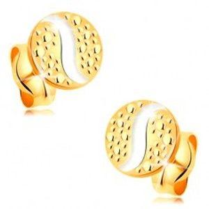 Šperky eshop - Zlaté puzetové náušnice 585 - malý kruh s vlnkou z bieleho zlata a bodkami GG177.44