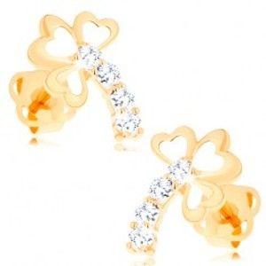 Šperky eshop - Zlaté puzetové náušnice 585 - trojlístok s čírou trblietavou stonkou GG103.04