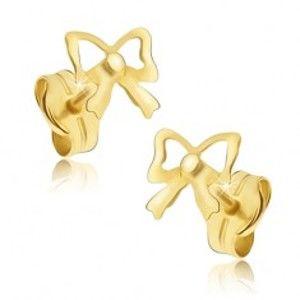 Šperky eshop - Zlaté puzetové náušnice 585 - zrkadlovolesklé mašličky GG16.03