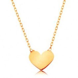 Šperky eshop - Zlatý 14K náhrdelník - ligotavá tenká retiazka, prívesok - malé ploché srdiečko GG160.12