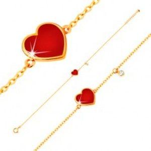 Šperky eshop - Zlatý 14K náramok - červené glazúrované srdce a číry zirkónik, tenká retiazka, 180 mm GG136.11