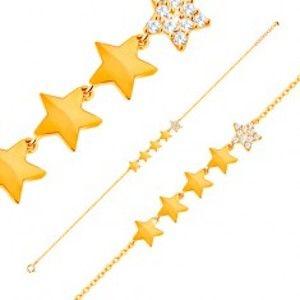 Šperky eshop - Zlatý 14K náramok - línia piatich hviezdičiek, retiazka z oválnych očiek, 180 mm GG137.27