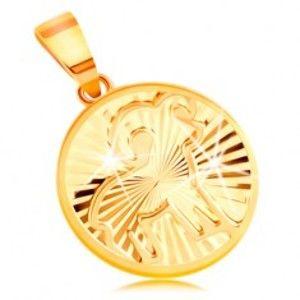 Šperky eshop - Zlatý 14K prívesok - lúčovito usporiadané zárezy, znamenie BARAN GG211.45